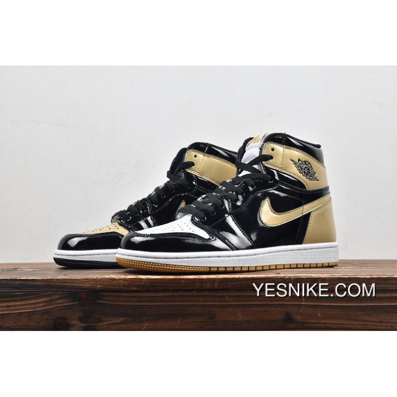 cheaper e4d4b ead1d Air Jordan 1 ComplexCon Gold Top 3 Black Gold What The 861428-001 Color  Change To Black White Gold Three Color Shows A Person And Inject Patent ...