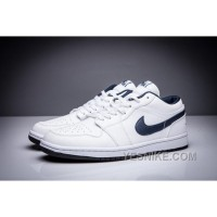 Big Discount! 66% OFF! Air Jordan 1 Retro Low OG White/Midnight Navy Blue Leather