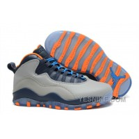 "Big Discount! 66% OFF! Cheap Nike Air Jordan 10 Retro ""Bobcats"" Wolf Grey-Atomic Orange"