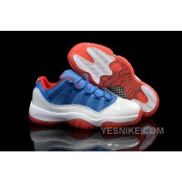 """Big Discount! 66% OFF! Air Jordans 11 Low """"Knicks"""" White Blue Red Shoes For Sale"""