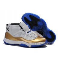 Big Discount! 66% OFF! New Nike Air Jordan 11 White Gold Blue For Sale Online