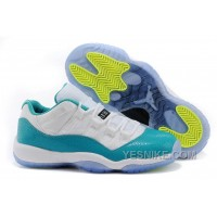 "Big Discount! 66% OFF! Cheap Air Jordan 11 Retro Low ""Aqua"" White/Turbo Green-Volt Ice-Black"