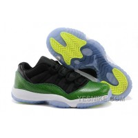 "Big Discount! 66% OFF! Cheap Air Jordan 11 Retro Low ""Green Snakeskin"" Black/Nightshade-White-Volt Ice"