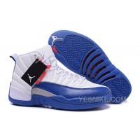"Big Discount! 66% OFF! 2016 Air Jordan 12 Retro ""French Blue"" White/French Blue-Metallic Silver-Varsity Red"