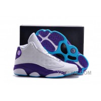 "Big Discount! 66% OFF! Air Jordans 13 ""Hornets"" White Purple For Sale"