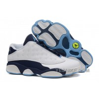 "Big Discount! 66% OFF! 2015 Air Jordan 13 Low ""Hornets"" White-Midnight Navy Cheap For Sale"
