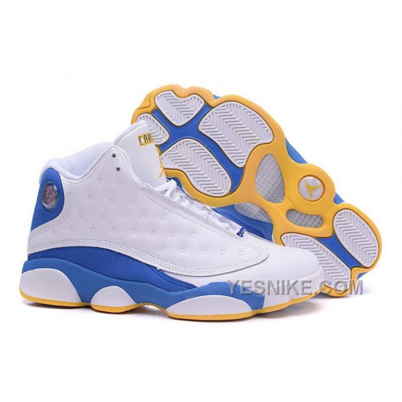 "info for 41ecf af059 Big Discount! 66% OFF! Air Jordan 13 Carmelo Anthony ""Nuggets"" PE White  Blue For Sale"