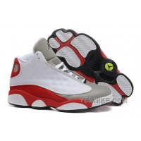 "Big Discount! 66% OFF! Air Jordan 13 (XIII) Retro ""Grey Toe"" White/Black-True Red-Cement Grey"