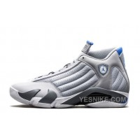 "Big Discount! 66% OFF! Air Jordan 14 Retro ""Wolf Grey"" Wolf Grey/White-Sport Blue For Sale Online"