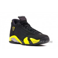 "Big Discount! 66% OFF! Air Jordans 14 Retro ""Thunder"" Black/Vibrant Yellow-White For Sale"