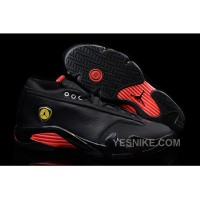 Big Discount! 66% OFF! Air Jordan 14 Retro Low Black Leather/Gym Red For Sale
