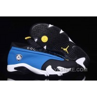 "Big Discount! 66% OFF! Air Jordan 14 Retro Low ""Laney"" Varsity Royal/Varsity Maize-Black-White For Sale"
