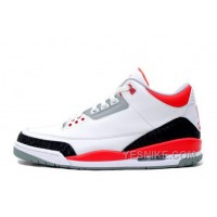 Big Discount! 66% OFF! Air Jordan 3 Retro White/Fire Red-Cement Grey Online For Sale