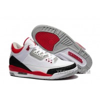 Big Discount! 66% OFF! For Sale Air Jordan 3 (III) White/Fire Red-Silver-Black