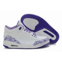 Big Discount! 66% OFF! Inexpensive Cemenst Cemenst Air Jordan 3 Iii Retro White Purple Womens Shoes RjcXG