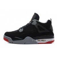 "Big Discount! 66% OFF! Air Jordan 4 Retro ""Bred"" Black/Cement Grey-Fire Red For Sale Online"