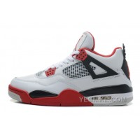 Big Discount! 66% OFF! Air Jordan 4 Retro White/Fire Red-Black Cheap For Sale Online