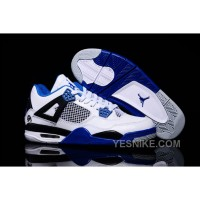 Big Discount! 66% OFF! 2015 Air Jordan 4 Retro White Black Blue Shoes For Sale
