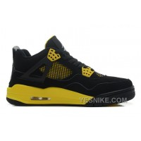 "Big Discount! 66% OFF! Air Jordans 4 Retro ""Thunder"" Black/White-Tour Yellow For Sale 4sKrB"