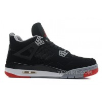 """Big Discount! 66% OFF! Air Jordans 4 Retro """"Bred"""" Black/Cement Grey-Fire Red For Sale YRzSK"""