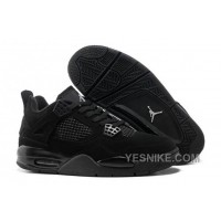 "Big Discount! 66% OFF! Air Jordan 4 Retro ""Black Cats"" All Black/Light Graphite"
