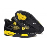 "Big Discount! 66% OFF! Air Jordan 4 (IV) Retro ""Thunder"" Black/White-Tour Yellow"