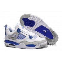 Big Discount! 66% OFF! Air Jordan 4 (IV) Retro White/Military Blue-Neutral Grey