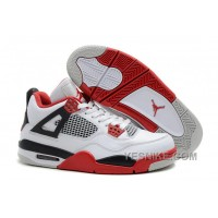 Big Discount! 66% OFF! Air Jordan 4 (IV) Retro White/Fire Red-Black