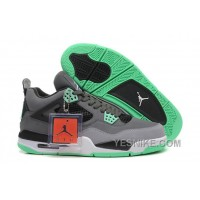 Big Discount! 66% OFF! Air Jordan 4 (IV) Retro Dark Grey/Green Glow-Cement Grey-Black