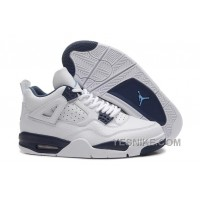 Big Discount! 66% OFF! Air Jordan 4 Retro White/Legend Blue-Midnight Navy For Sale