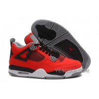 "Big Discount! 66% OFF! Air Jordan 4 (IV) Retro ""Toro Bravo"" Fire Red/White-Black-Cement Grey"
