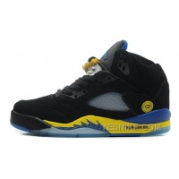 "Big Discount! 66% OFF! Air Jordan 5 Retro ""Shanghai Shen"" Black/Varsity Maize-Varsity Royal-Black For Sale"