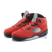"Big Discount! 66% OFF! 2015 Air Jordan 5 Retro ""Raging Bull"" Red Suede/Black For Sale"