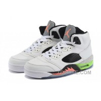 "Big Discount! 66% OFF! 2015 Air Jordan 5 Retro ""Space Jam"" White/Black-Poison Green For Sale"