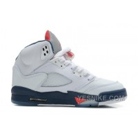 Big Discount! 66% OFF! Air Jordans 5 Retro White/Varsity Red-Obsidian For Sale 6jH44