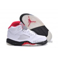 Big Discount! 66% OFF! Air Jordan 5 (V) Retro White/Fire Red-Black For Sale Online