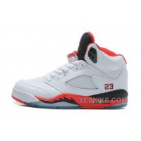 Big Discount! 66% OFF! New Zealand Girls Air Jordan 5 V Retro Shoes White Red Outlet AfKNQ