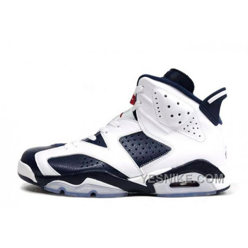 Authentic Air Jordan 6 (VI) Retro Olympic White Midnight Navy-Varsity Red