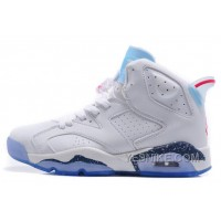 "Big Discount! 66% OFF! Air Jordan 6 (VI) Retro ""First Championship"" White Leather/Icy Blue-Dark Blue Speckled-Red For Sale"