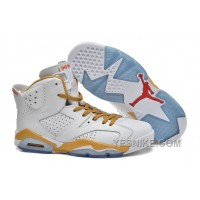 "Big Discount! 66% OFF! Air Jordan 6 Retro ""Gold Medal"" White Gold Cheap Sale"