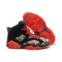 "Big Discount! 66% OFF! Air Jordan Retro 6 ""Camo"" Black Red For Sale Online"