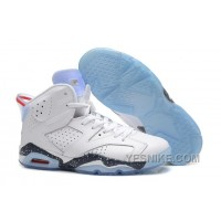 "Big Discount! 66% OFF! Air Jordan Retro 6 ""First Championship"" White-Navy Speckled For Sale"