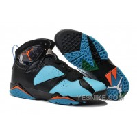 Big Discount! 66% OFF! 2015 Air Jordan 7 Black Blue Orange Shoes