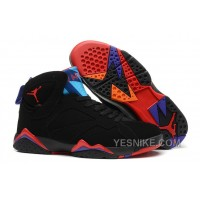 "Big Discount! 66% OFF! Air Jordan 7 Retro ""Raptor"" Black/True Red-Dark Charcoal-Club Purple"