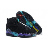 "Big Discount! 66% OFF! Air Jordan 8 Retro ""Aqua"" Black/Bright Concord-Aqua Tone Mens For Sale"