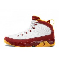 "Big Discount! 66% OFF! Air Jordan 9 Retro ""Bentley Ellis"" White/Dark Cayenne-University Gold For Sale"