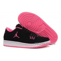 Big Discount! 66% OFF! Girls Air Jordan 1 Low Black Pink Shoes For Sale