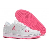 Big Discount! 66% OFF! Girls Air Jordan 1 Low White Pink Shoes For Sale