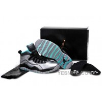 "Big Discount! 66% OFF! Girls Air Jordan 10 ""Lady Liberty"" Cement Grey/Black-Tropical Teal Remastered"