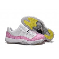 Big Discount! 66% OFF! 2015 Air Jordan 11 GS Low White Pink Snakeskin